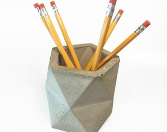Geometric Concrete Pencil Holder // Pencil Cup //  Desk Organizer