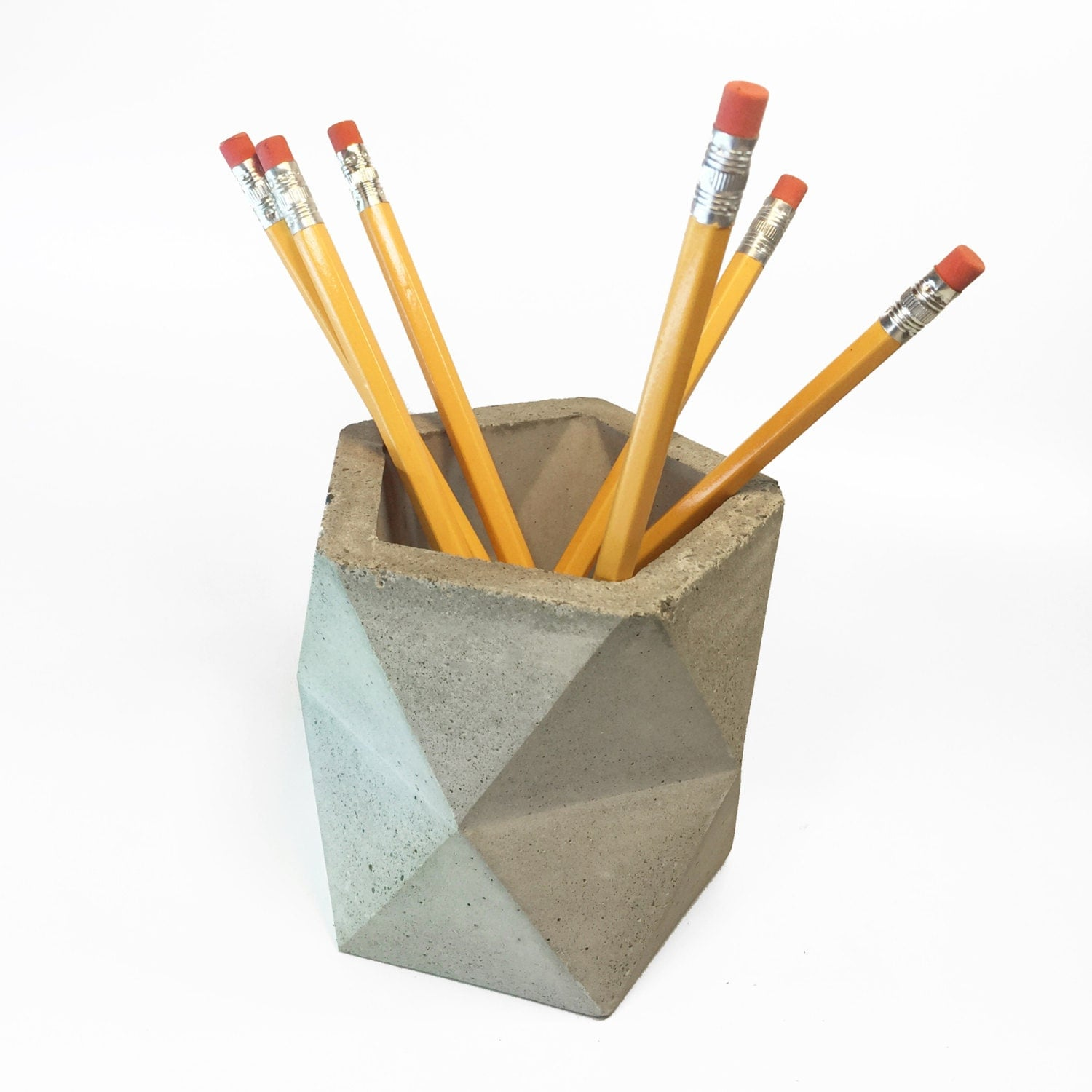 geometric concrete pencil holder pencil cup desk