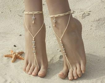 Starfish barefoot sandals/Crochet barefoot sandals/Beach wedding/Bridal Footless shoes/Bridal Barefoot Sandals