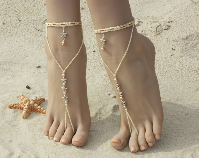 Starfish barefoot sandals/Crochet barefoot sandals/Beach wedding/Bridal Footless shoes/Bridal Barefoot Sandals