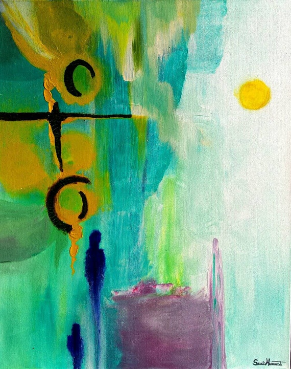 Large Abstract Painting PAINTINGS Art Zen by ArtBySarahHinnant