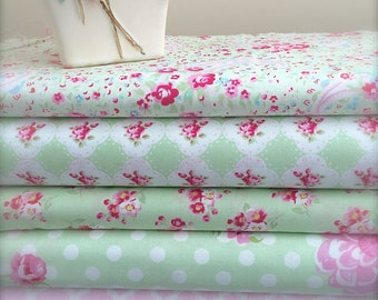 Tanya Whelan Rosey Coordinated Fabrics for Shabby Chic and Summer Sewing in Pink, Green and Ivory