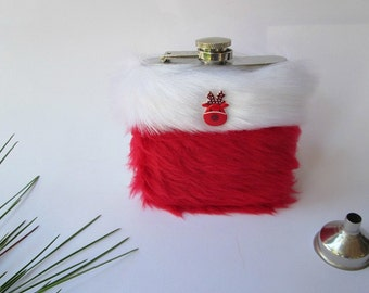 Alcohol Gift, Funny Christmas Gift Flask, Furry Reindeer Flask, Girly Fluffy Red and White Womens Flask for Her, INCLUDING FLASK