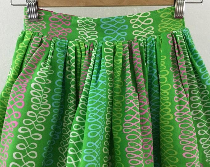 Girl's Organic Cotton Reversible Summer Skirt, Kid's Green Skirt, Girl's Pink Skirt, Girls Summer Clothing, Circle Skirt, Photo Prop