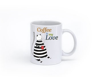 Tazas Cute coffee mugs Ceramic mugs Funny mugs White cup Unique gift Christmas gift for coffee lover Cat cup Cat mug Kitty illustration