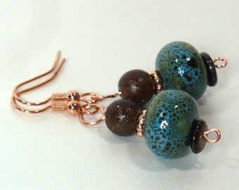 Spotted Turquoise Dangle Earrings with Ceramic and Glass Beads, Tribal Styling, Rose Gold Nickle-Free Ear Wires, Ready to Ship, Handmade