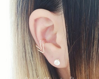 Double Chevron Ear Cuff Conch Earring Cartilage Helix Clip On, No Piercing Geometric Jewelry - Sterling Silver, 14K Gold Filled
