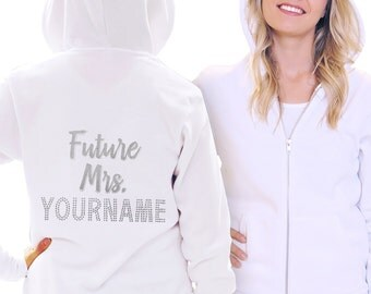 Personalized Bride Gift - Future Mrs Glitter & Rhinestone Hoodie, Bachelorette Party Gift, Custom Sweatshirt, Bachelorette Gifts, Bridal
