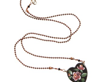 Handmade Jewelry, Russian Folk Art, Roses Hand Painted, Wooden Pendant, Heart Pendant, Black Heart, Delicate, Roses, Original Design