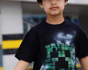 Creeper kids costume |Green pixel Snapback and t-shirt black set |Boy creeper costume |Gaming |Gamer snapback |Gamer t-shirt |Birthday party