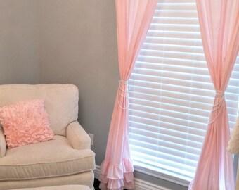 Ruffle Curtains - Light Pink