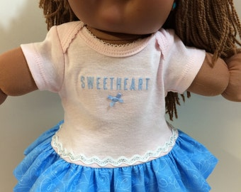 """Cabbage Patch KIDS 16 inch Doll Clothes, """"SWEETHEART"""" Ruffle & Sparkling Trim Dress, 16 inch CPK Doll, Fits 15"""" Bitty Baby, Love My Dolly!"""