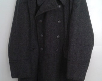 SALE //// Vintage 1964 Danish Military Civilfor Svaret Heavy Grey Wool Coat Double Breasted CF KL I 104