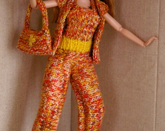 Orange knitted Barbie handmade bag- Knit-Doll Clothes