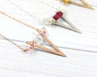 Dainty Birthstone Necklace, Delicate Minimal Necklace, Rose Gold Birthstone Necklace, Triangle Necklace, Small Thin Necklace,valentines Gift