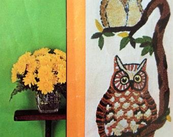 Vintage Crewel Kit, Tree Owls, Owls Wall Hanging, Stitchery Kit, Avon Needlecraft Kit, 1970s Crafting, Crewel Embroidery Kit, Owl Embroidery