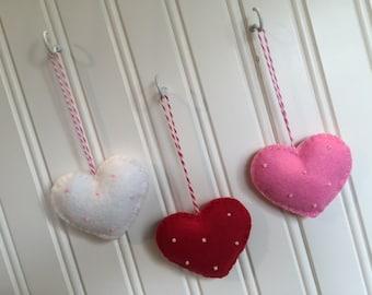 SALE Felt Heart Ornament Set (3) Red White Pink