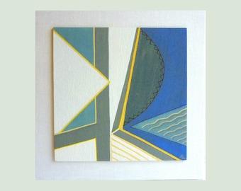cubist art painting, geometric art, wood wall art, gouache painting, abstract original ooak
