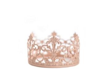 Pink Princess Crown, Blush Crown Cake Topper, Wedding Cake, Mini Crown
