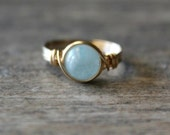 Aquamarine Ring, 14k Gold Filled Aquamarine Wire Wrapped Ring Gemstone Ring, Stone Ring