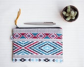 Aztec Pencil Pouch, Mens & Womens Pen Zipper Case, Pen Holder, Organizer by Viggi