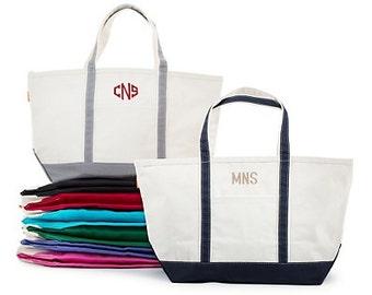 Monogrammed Boat Tote | Personalized Large Canvas Tote Bag | Beach Bag, Bridesmaid's Gift, Travel, Birthday, Graduation, Sorority