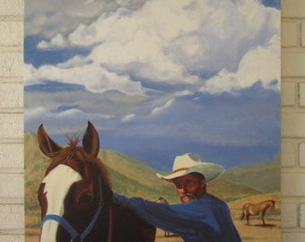 Cowboy and Horse - Saddle Up original acrylic painting Cave Creek Arizona