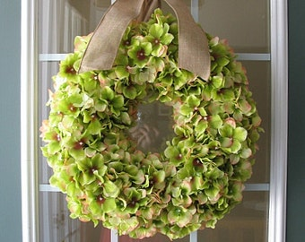 Hydrangea Wreath/ Green Hydrangea/ Spring Wreath/ Summer Wreath/ Fall Wreath