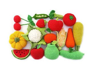 Crochet vegetables fruits 18Pc birthday|gifts play|food kids|gift|waldorf|baby|gift|soft organic|toys|christmas gift|girlfriend|gift|for|her