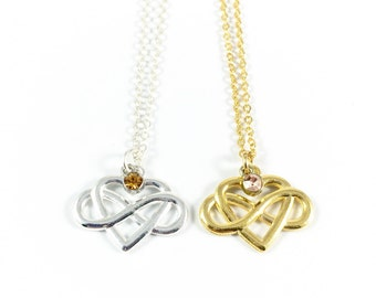 Infinity Heart Necklace, Infinity Pendant, Eternity Necklace, Love Knot Necklace, Remembrance Jewelry, In Loving Memory, Anniversary Gifts