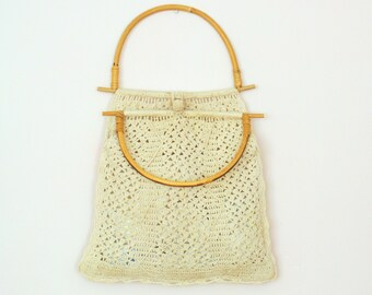 Lovely Mid-Century Crocheted Tote Bag / Bambo Handle Shopper / Handmade Bag