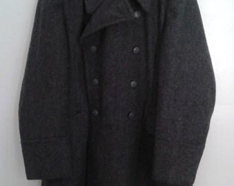 Vintage 1964 Danish Military Civilfor Svaret Heavy Grey Wool Coat Double Breasted CF KL I 104
