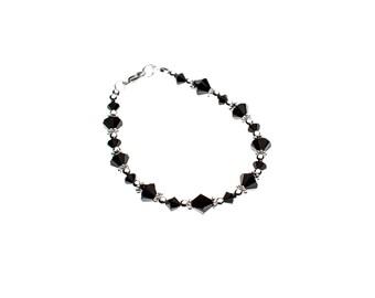 Bracelet noir en cristal Swarovski et argent sterling 925