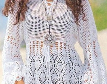 Crochet Boho Summer Tunic Beach Top  Designer Crochet Top PATTERN-Digital Download- Small, Medium, Large, X-Large and XX-Large- U.S.Version