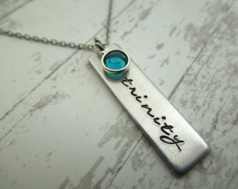 Name necklace,  hand stamped on rectangle tag, mothers necklace, rectangle tag