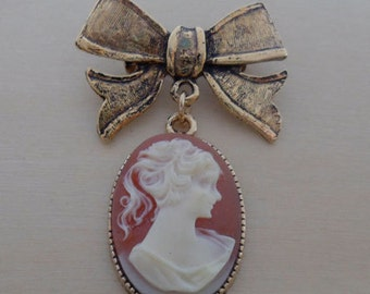 Classic Pink Vintage Cameo and Bow Tie Brooch, Pin