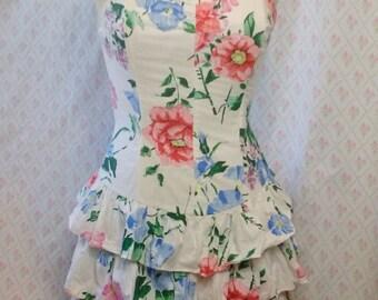 Wonderful vintage 1980's  Dawn Joy floral cotton shirred strapless tiered summer party dress
