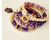Purple and Gold/Antique-Gold Look Swarovski-Style Crystals Memory Wire Bracelet with Heart and Rose Charm