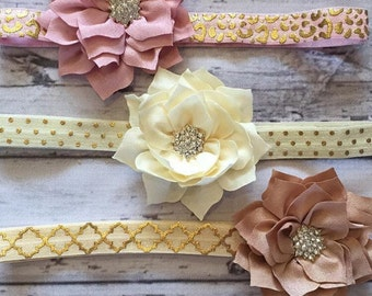 Vintage Chiffon Headband, Newborn Headbands, Flower Headband, Pearl Headbands, Photo Prop, Baby Headbands, Toddler Headbands