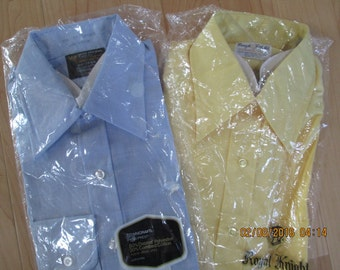 Vintage 70s NWT Mens Dress Shirts  both 15 1/2 - 33