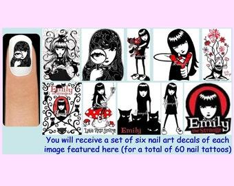 60 x EMILY THE STRANGE Nail Art Decals + Free Rhinestones Goth Gothic Girl Cats Sabbath