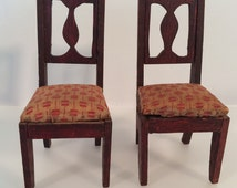 Antique dollhouse furniture - 2 dining room chairs – Large 1 Inch Scale - traditional style