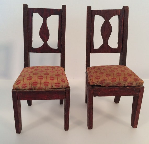 antique dollhouse furniture 2 dining room chairs large 1