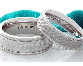 Titanium Wedding Bands Hammered Titanium Rings 6mm 8mm Brushed Titanium Anniversary Rings Titanium Matching His Hers Titanium Wedding Bands