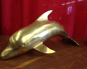 Vintage, Hollywood Regency, Solid Brass Large Dolphin Figurine, Palm Beach, Nautical decor, Animals Sculpture, Statue, Vintage