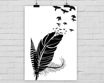 print poster BIRDS FEATHER FREE