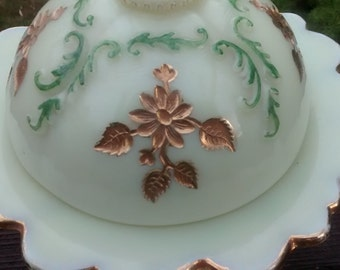 Northwood Glass Intaglio Custard Glass Covered Butter Dish Antique