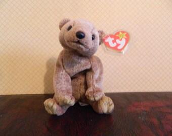 "TY Brown Bear Beanie Baby ""Pecan"" (J)"