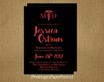 Elegant Medical School Graduation Invitation,Announcement,Black and Red Shimmer,Medical Degree,Opt Back Print,Customizable With Envelopes