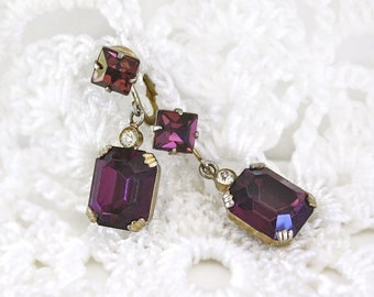 Purple Rhinestone Earrings, Vintage Clip On Earrings, Vintage Jewelry